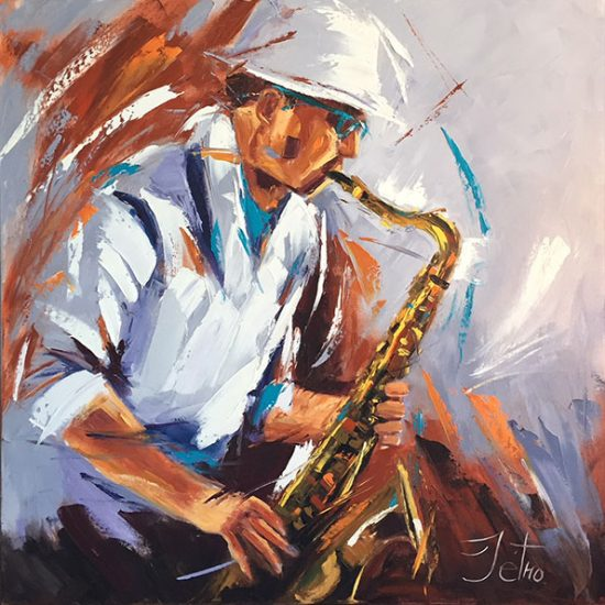 "Jazz la vie 30"" x 30"" - Manon Tétreault artiste peintre"