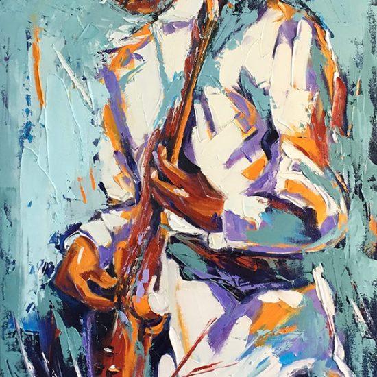 "L'écho du Jazz 36""x 18"" - Manon Tétreault artiste peintre"