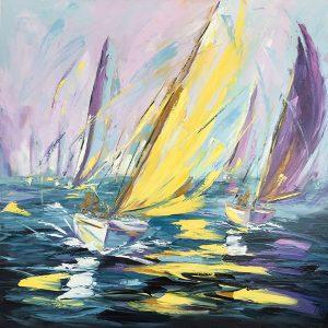 """La vie en jaune 48""""x 48"""" - Manon Tétreault artiste peintre"""