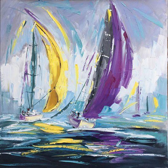 """Le vent dans les voiles 30"""" x 30"""" - Manon Tétreault artiste peintre"""