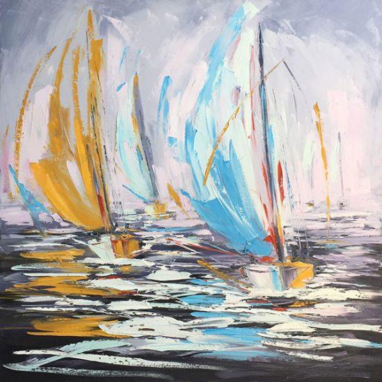 "Plein sud 30""x 30"" - Manon Tétreault artiste peintre"