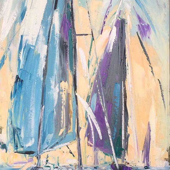 """Soleil levant 48"""" x 24"""" - Manon Tétreault artiste peintre"""