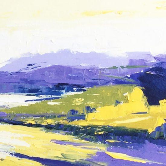 Bleu moutarde - 12x36 - Manon Tétreault artiste peintre