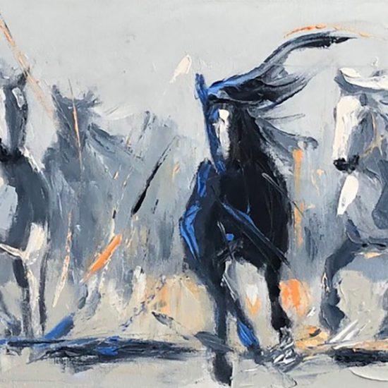L'écho des galops - 12x48 - Manon Tétreault artiste peintre