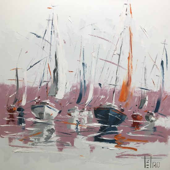Lueurs rosées - 40 x 40